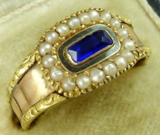 Bristol Blue 18ct Gold Pearl Ring Henry Metcalf Dated 1822