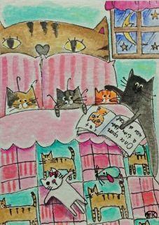 Cat Bed Book Moon Star Folk Art Watercolor ACEO Original Painting