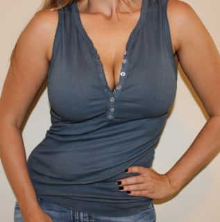 MICHAEL STARS Sleeveless Button Up Henley Shirt S M Tight Stretch