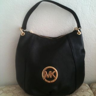 Michael Kors Fulton Black Leather Purse