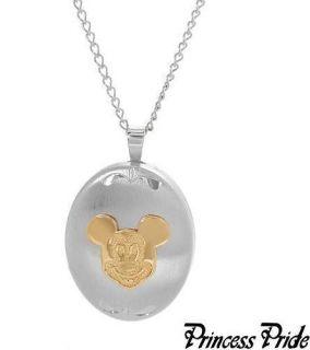 Disney Mickey Mouse Sterling 14k Locket Necklace