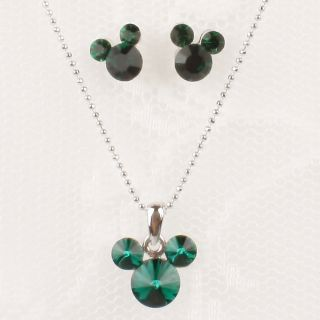 New Mickey Mouse Jewelry Set Green Swarovski Crystal Earrings Necklace