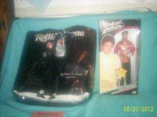 Michael Jackson Doll and Rolling Stones Tote Bag