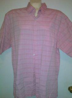 Michael Brandon XXL 2X 18 Pink Plaid Cotton Shirt