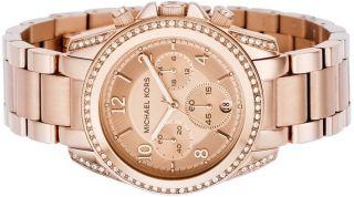 New Michael Kors Rose Gold Crystal Chrono Ladies Watch MK5263