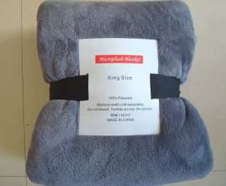Super Plush Microfiber Blanket Slate Gray King Size