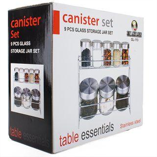 Pcs Stainless Steel Canister Set Glass Storage Jar Set
