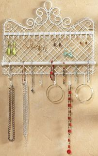 Mounted White Metal JEWELRY RACK Holder Organizer 18 hook necklace