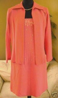 Kristen J Womens Dress Suit Coral Peach Color Size Large