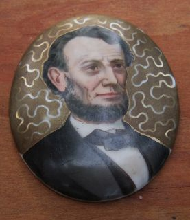 Very Early Abraham Lincoln Ulysses Grant Painted Porcelain Plaques