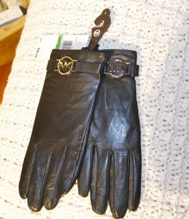 MICHAEL KORS SOFT BLACK LEATHER GLOVES LOGO SILVER BUCKLE LARGE FA12
