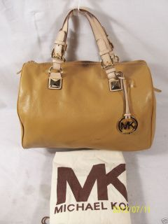 New Michael Kors Grayson Large Satchel Tan Leather $348 30H01GYS3L