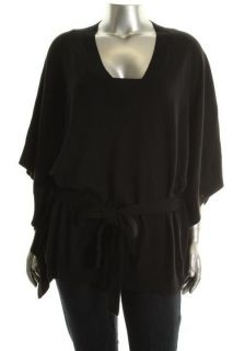 Michael Kors NEW Black V Neck With Self Belt Poncho Sweater Plus 1X