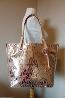 Michael Kors Rose Gold Mirror Metallic Monogram Grab Bag $228