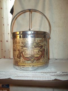 Vintage RETRO Chrome Mid Century WORLD MAP Atlas ICE BUCKET JAPAN
