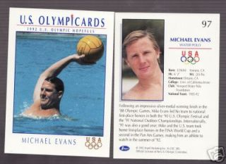 100 1992 Olympic Michael Evans Water Polo Cards 97