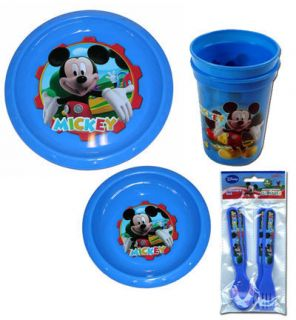 Disney Clubhouse Mickey Mouse Kids 8PC Plate Bowl Cup Spoon Fork
