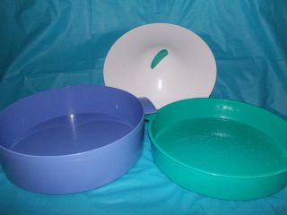 in Minutes Round Blue Green Microwave Steamer Colander Pan
