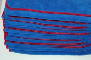 12P Microfiber Towel Elite Deluxe House Car Cleaning Cloths Blue Red