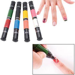 New Migi Nail Art Polish Design 8 Classic Colors Set of 4 Pen Brushes