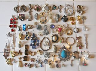 Large 70 PC Lot of Vintage Modern Single Earrings Rhinestones Pearls