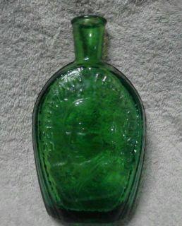 EMERALD GREEN GLASS BOTTLE Wheaton Millville NJ BENJAMIN FRANKLIN