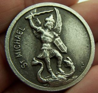 St Saint Michael Silver Plate Police Army Protection Pocket Religious