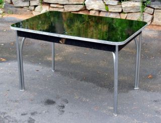 Vintage Black ART DECO KITCHEN DINING TABLE with additional leaf metal