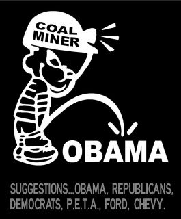 Coal Miner Boy Peeing on Obama Custom Personalize Vinyl Decal Sticker
