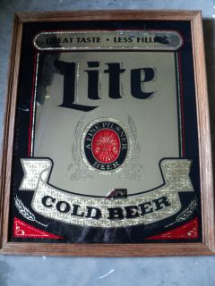 RARE 1984 Miller Lite Beer Wood Frame Mirror Bar Sign 22x18 Miller