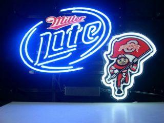 NEW OHIO STATE BRUTUS BUCKEYE MILLER LITE BEER REAL NEON LIGHT BAR PUB