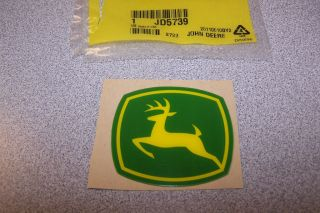 New John Deere Logo Decal JD5739 Green Yellow Hard Plastic Mini