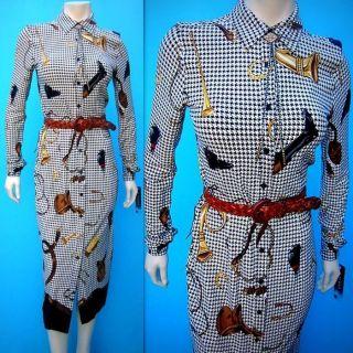LAUREN Shirt DRESS 6 Equestrian Houndstooth MIDDLEBURG Logo Print Knit