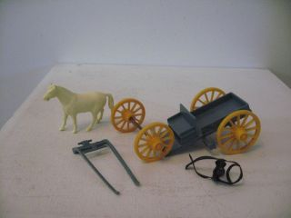 Marx 1950s Roy Rogers Mineral City 60mm Blue Buckboard Wagon and Horse