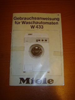 1980s Miele W433 Washing Machine Manual User Guide Booklet