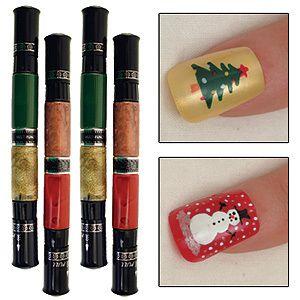 NEW Migi Nail Art Design Fingernail Polish Kit 4 Party Colors Set of 2