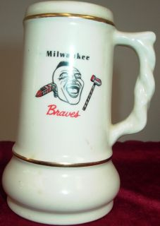 MILWAUKEE BRAVES 1957 WORLDS (SERIES) BASEBALL CHAMPIONS CERAMIC BEER