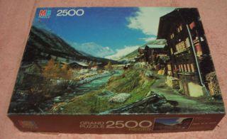 MB Milton Bradley Grand 2500 Piece Jigsaw Puzzle Alpine Village 1983