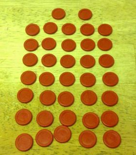 Milton Bradley Torpedo Run Board Game Replacement Red Discs 37 Total