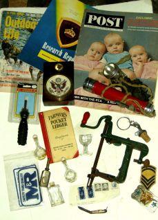 JUNK DRAWER LOT ~ knife , military , belt buckle , antiques