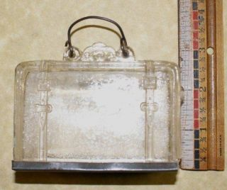 Vintage Glass Suitcase Candy Container J H Millstein