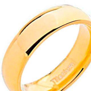 6mm 14k Gold EP Domed High Polish Titanium Band Unisex Wedding Ring