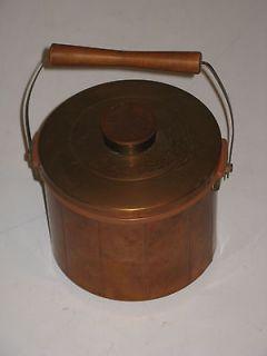 Vintage 3 pc SPARTAN Minneapolis Copper Ice Bucket Lid Insert Wood