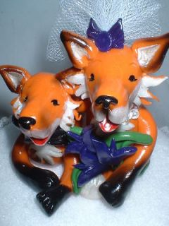 Wedding Cake Topper Fox bride and groom! Custom Pamkins