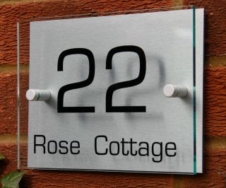 MODERN HOUSE NUMBER SIGN / PLAQUE Aluminium & Acrylic