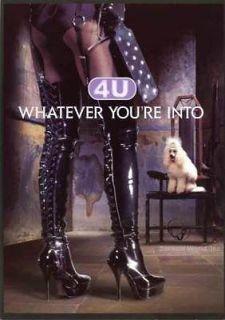 Rare Sexy High Heel Boots GIRL Paddle Postcard Poodle Camus 4U Cognac