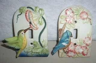 Porcelain Takahashi SF Bird Outlet Covers Blue Jay Humming Bird