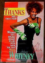 Whitney Houston 1986 THANKS poster mint condition BEAUTIFUL PORTRAIT