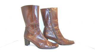 CRAFTED MEZLAN RUSSELL Brown Spanish Leather Designer Boots 10