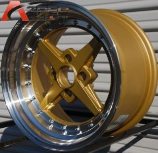 ROTA ZERO PLUS 15X8 4X100 +0 GOLD POLISH RIM WHEELS
